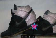 Silver Glitter Sparkle Nike Dunk Sky Hi Wedge Sneakers f6bddb71d164