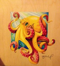 Octopus by SparrowArtDesigns on Etsy Octopus Artwork, Octopus Painting, Octopus Drawing, Octopus Octopus, Kraken, Animal Drawings, Art Drawings, Octopus Tattoos, Sea Art