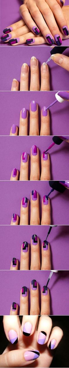 Quick Nail Art Ideas - DIY Colorful Fashion Nails - Easy Step by Step Nail Designs With Tutorials and Instructions - Simple Photos Show You How To Get A Perfect Manicure at Home - Cool Beauty Tips and Tricks for Women and Teens Nail Art Diy, Diy Nails, Cute Nails, Nail Art At Home, Nail Art Stripes, Striped Nails, Blue Nail, Fall Nail Art Designs, Cute Nail Designs
