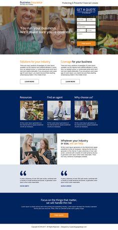 responsive business insurance premium landing page design