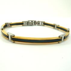 Popular Stainless Steel Gold and Black gents bracelet Braclets Gold, Bracelets, Gents Bracelet, Leather Briefcase, Brass, Stainless Steel, Belt, Mens Fashion, Popular
