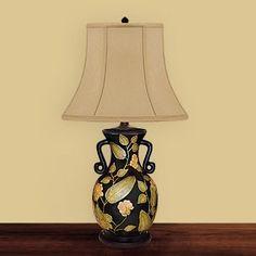"""Price: $173.25 JB Hirsch J15357 Patted Leaf Porcelain Urn Table Lamp - 29"""" Patted Leaf Porcelain Urn Lamp    Silk shade Black finish"""