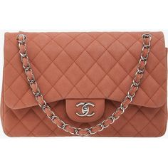 Pre-owned Chanel Light Pink Suede Caviar SHW Jumbo Double Flap ($3,785) ❤ liked on Polyvore featuring bags, handbags, shoulder bags, pink, chanel handbags, brown purse, chanel purses, light pink handbag and brown suede handbag
