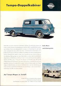 1 of Tempo Wiking Rapid Matador Double Cab German Market Leaflet Brochure Vintage Ads, Vintage Posters, Custom Motorcycle Builders, German Markets, Vw Pickup, Car Advertising, Commercial Vehicle, All Cars, Chevrolet Logo