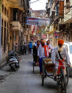 Orange turbans on the by lanes of Amritsar.