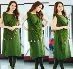 #bhavana #bhavanamenon Dress Neck Designs, Designs For Dresses, Blouse Designs, Churidar Designs, Kurta Designs Women, Stylish Dresses, Simple Dresses, Beautiful Dresses, Formal Dresses With Sleeves