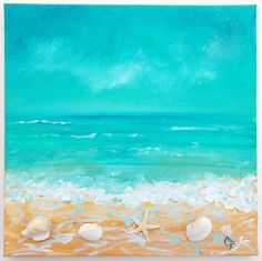 DIY Painting of Seashells and Starfish | Beach painting with shells and texture by TheEscapeArtist on Etsy, $75 ...