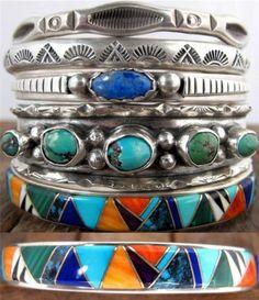 Vintage Pawn Navajo Sterling Cuff Bracelet Turquoise Mosaic Inlay Zora Joe