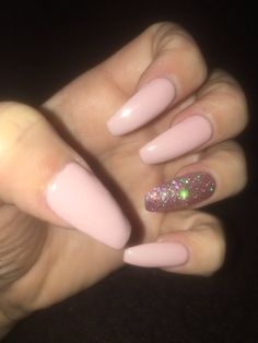 New Ideas Baby Pink Nails Coffin Glitter Acrylic Nails Coffin Glitter, Summer Acrylic Nails, Glitter Nails, Baby Pink Nails With Glitter, Blue Nails, Nail Pink, Pink Coffin, Coffin Acrylics, Maroon Nails
