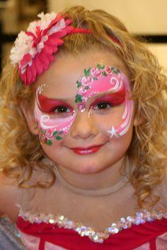 Face paint flowers eye mask princess girls half face
