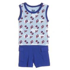 Tank & Cargo Short Outfit Set in Boy Flying Kites