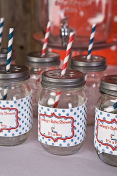 Sailboat Water Bottle Labels Nautical Baby Shower- Red & Blue