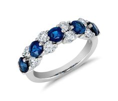Classic Sapphire and Diamond Garland Ring in Platinum   Click for your chance to win a $1000 gift card from #BlueNile.