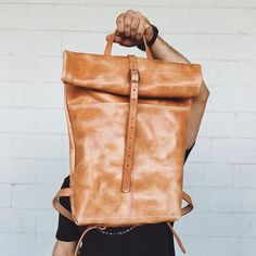 All leather Rucksack in Honey for a great customer. We love making these! This color is just so good. #loyalstricklin #leather #rucksack #backpack #adventure #leatherbackpack #style #mensstyle