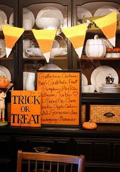 Trick or Treat sign to make (she is like me and doesn't use stencils or vinyl letters!  yay)