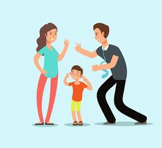 Angry husband and wife swear in presence of unhappy scared kid. Illustration of man and woman divorce Sad Child, Sad Girl, Family Illustration, Flat Illustration, Family Problems, 19 Kids, Free Vector Art, Cartoon Images, Vector Freepik