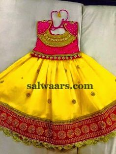 Yellow Silk Kids Skirt | Indian Dresses