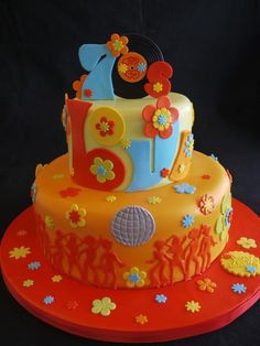 70's disco party cake