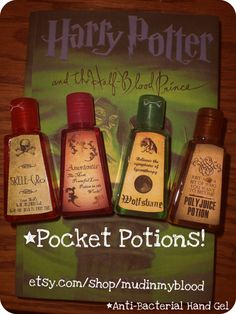 Four Harry Potter Inspired Anti-bacterial Hand Sanitizers in Mini Potions Bottles