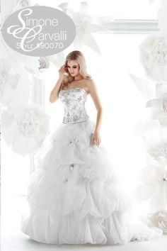 Simone Carvalli fall 2011 wedding gown, style #90070 #organza #pickupskirt #strapless