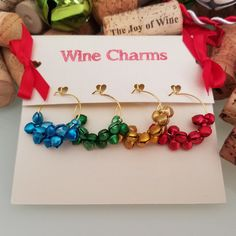 Christmas Wine Glass Charms, Jingle Bell Wine Charms, Christmas Party Favors, Wine Charm Favors, Christmas Wine Glass Tags, LasmasCreations by LasmasCreations on Etsy