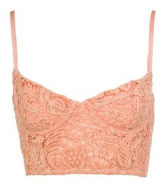 5eb697d9ad5e6 Peach Lace Cropped Bralet -- would be so cute with a cream colored  high-waisted flowy maxi skirt