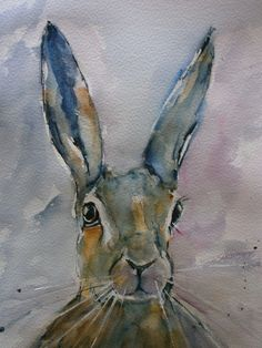 ARTFINDER: Hare by Sue Green - A loose style watercolour of a hare, a wonderful subject that I really enjoy painting.