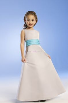 Blue A-Line/Princess Zipper Up Sleeveless Long/Floor-length Flower Girl Dresses With Sashes/Ribbons FDC18