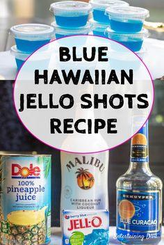 How to Make Blue Hawaiian Jello Shots - Entertaining Diva Recipes @ From House To Home GREAT recipe for Blue Hawaiian jello shots with coconut rum! The pineapple juice, Malibu rum and blue curacao tastes great with the berry blue jello. Jello Shot Cups, Best Jello Shots, Making Jello Shots, Jello Shot Recipes, Alcohol Drink Recipes, Recipe For Jello Shots, Margarita Recipes, Shake Recipes, July 4th Jello Shots