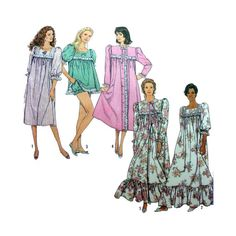 Women's Baby Doll Pajamas, Nightgown and Robe Sewing Pattern Misses/Plus Size 6, 8, 10, 12, 14, 16, 18, 20, 22, 24 Uncut Simplicity 9929