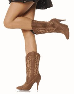High heel cowgirl boots dark brown to go with bridesmaid dress