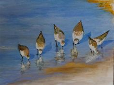 """seaside sanderlings"" - Original Fine Art for Sale - © carol arnold"