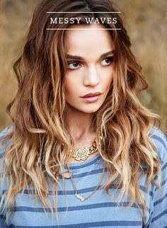 I love this tousled look ---> Her hair color is so gorgeous! I wonder if I can evolve my brown to blonde ombre hair to something closer to this. 2015 Hairstyles, Down Hairstyles, Medium Hairstyles, Female Hairstyles, Corte Y Color, Lob Hairstyle, Hairstyle Ideas, Hair Ideas, Hairstyle Tutorials