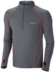 Columbia Sportswear Men's Baselayer Midweight 1/2 Zip Long Sleeve Shirt - with Omni-Heat heat reflective dots in zones that need warmth most - #outdoors #clothing #winter