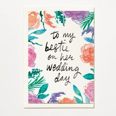 To My Bestie On Her Wedding Day - Greetings Card, Bridal Card, Wedding Card by ShortAndSweetPrint on Etsy