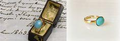 Jane Austen réplica turquesa del anillo oro o plata por tudorshoppe