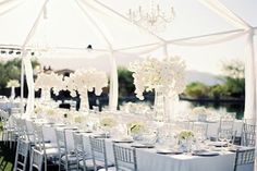 "I dream of a white tent wedding reception next to a lake like in ""Wedding Crashers"" or ""Meet Joe Black"""