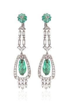 Vintage Art Deco Emerald And Diamond Ear Pendants