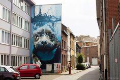 4-Story Underwater Dog Mural by Street Artist Smates (3/5)