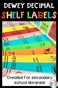 This set of Dewey Decimal Shelf Labels is perfect for secondary school libraries! The set includes vertical and horizontal labels, both in color and printer-friendly black line. The New School, New School Year, I School, School Library Design, Middle School Libraries, Library Ideas, Library Skills, Classroom Management Tips, School Hacks