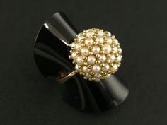 Ring: vintage Cocktailring mit Perlen, massive Goldschmiedearbeit, Italien 60er Jahre Ca. Ø16,5mm,