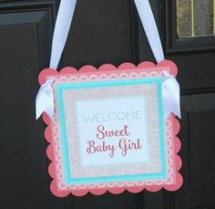 Baby Shower Welcome Door Hanger Sign. Coral and Aqua, 12x12, professionally printed / physical product. Gender Neutral shower. Customizable. by CharmingTouchParties on Etsy