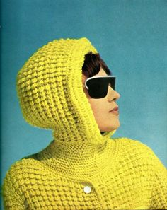 The knitted baby's romper suit had turned out a bit bigger than Fiona expected but was actually perfect for those cold, bad hair days. 60s And 70s Fashion, Ski Fashion, Retro Fashion, Vintage Fashion, Vintage Ski, Vintage Yellow, Kitsch, Romper Suit, Yellow Fashion