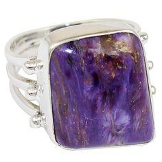 Charoite 925 Sterling Silver Ring Jewelry Size-6 SR-1769 #Allisonsilverco