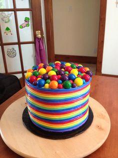 Rainbow cake Birthday Cake, Rainbow, Desserts, Food, Birthday Cakes, Rainbows, Meal, Rain Bow, Deserts