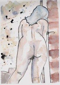 Behind the Door Watercolor Art, Painting, Male Sketch, Art, Humanoid Sketch