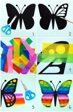 Tinker with tissue paper Butterflies Instructions . Tinker with tissue paper Butterflies Instructions window decoration Kids Crafts, Summer Crafts, Easy Crafts, Diy And Crafts, Arts And Crafts, Origami, Tissue Paper Crafts, Paper Garlands, Paper Butterflies
