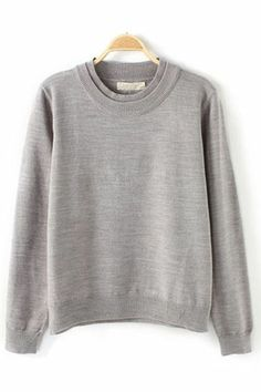 Weekend Wear! Comfy Grey  Double-collar Simple Style Loose Sweater #Weekend #Fashion