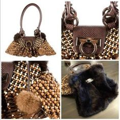 """I just discovered this while shopping on Poshmark: New Authentic Salvatore Ferragamo Mink Beaded Bag. Check it out! Price: $1,499 Size: 15"""" X 8"""" X 5"""""""
