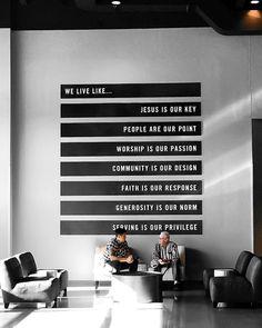 Church Values Wall - Pro Church Media Church Interior Design, Church Graphic Design, Church Stage Design, Graphic Design Posters, Church Lobby, Church Foyer, Church Office, Kirchen Design, Church Welcome Center